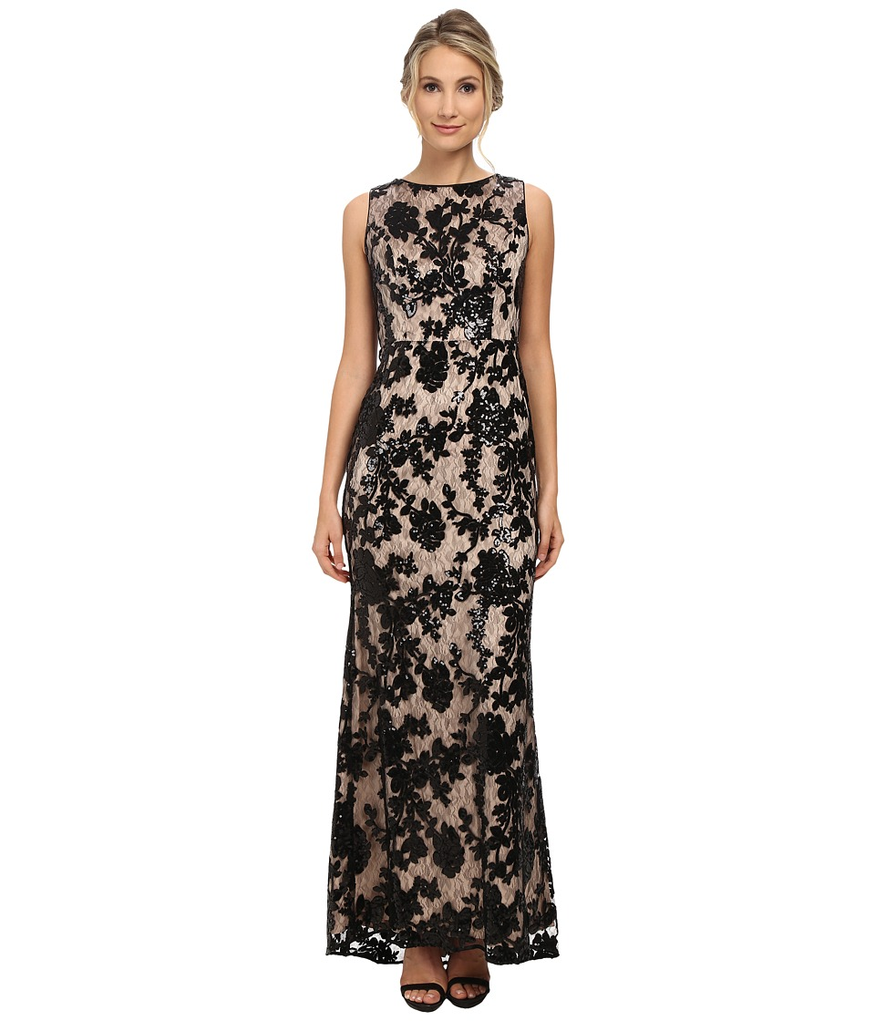 Vince Camuto - Beaded and Sequin Gown in Floral Pattern with Nude Lining (Black) Women's Dress