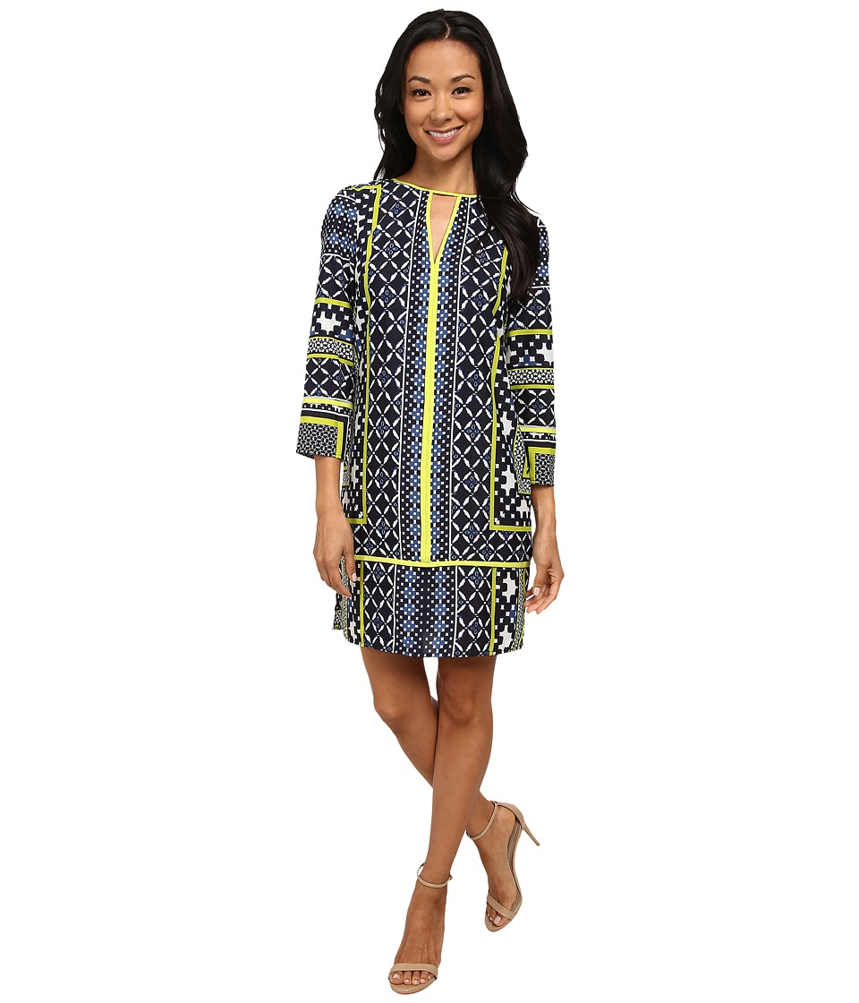 Vince Camuto - CDC Engineered Print Tunic Long Sleeve with Contrast Piping (Print) Women's Dress
