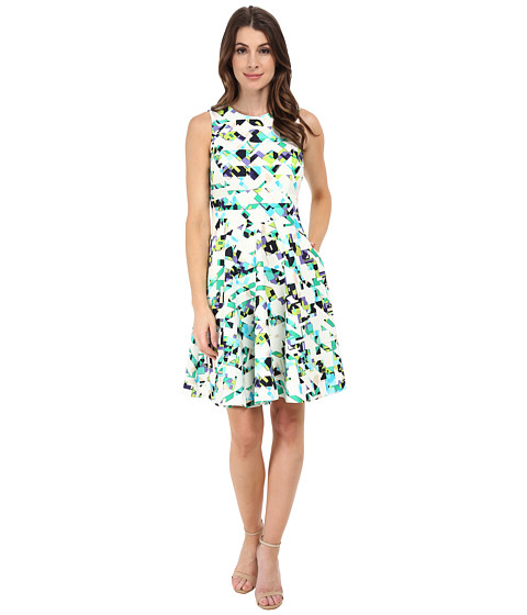 Vince Camuto - Woven Sleeveless Fit and Flare Dress (Geo Print) Women