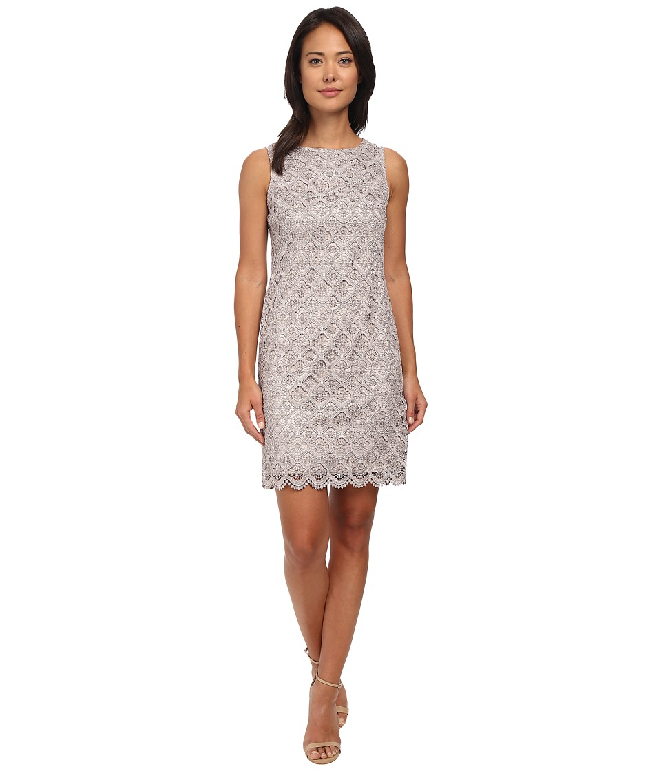 Vince Camuto - Sleeveless Metallic Lace Shift Dress (Taupe) Women's Dress