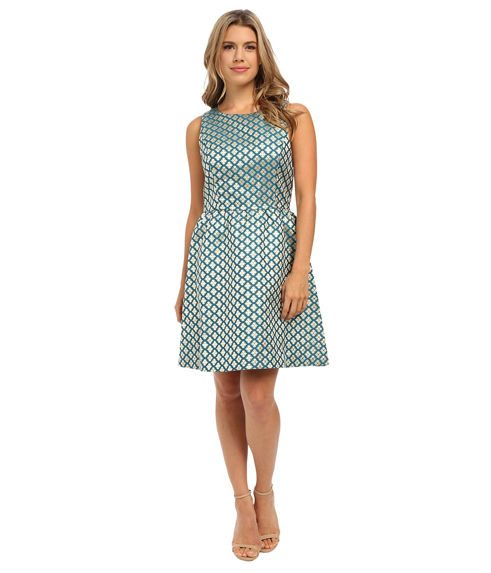 kensie - Lurex Geo Flowers Dress KSNK7751 (Teal Multi) Women's Dress