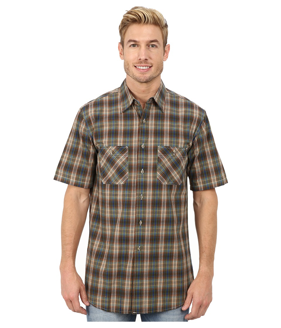 Pendleton - Short Sleeve Santiam Shirt (Blue/Bronze Ombre) Men