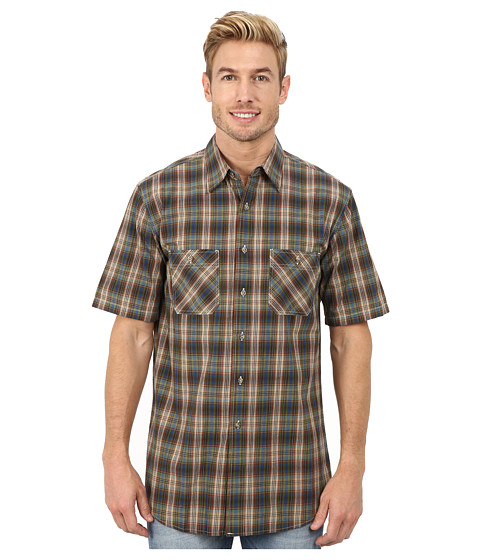 Pendleton - Short Sleeve Santiam Shirt (Blue/Bronze Ombre) Men's Clothing