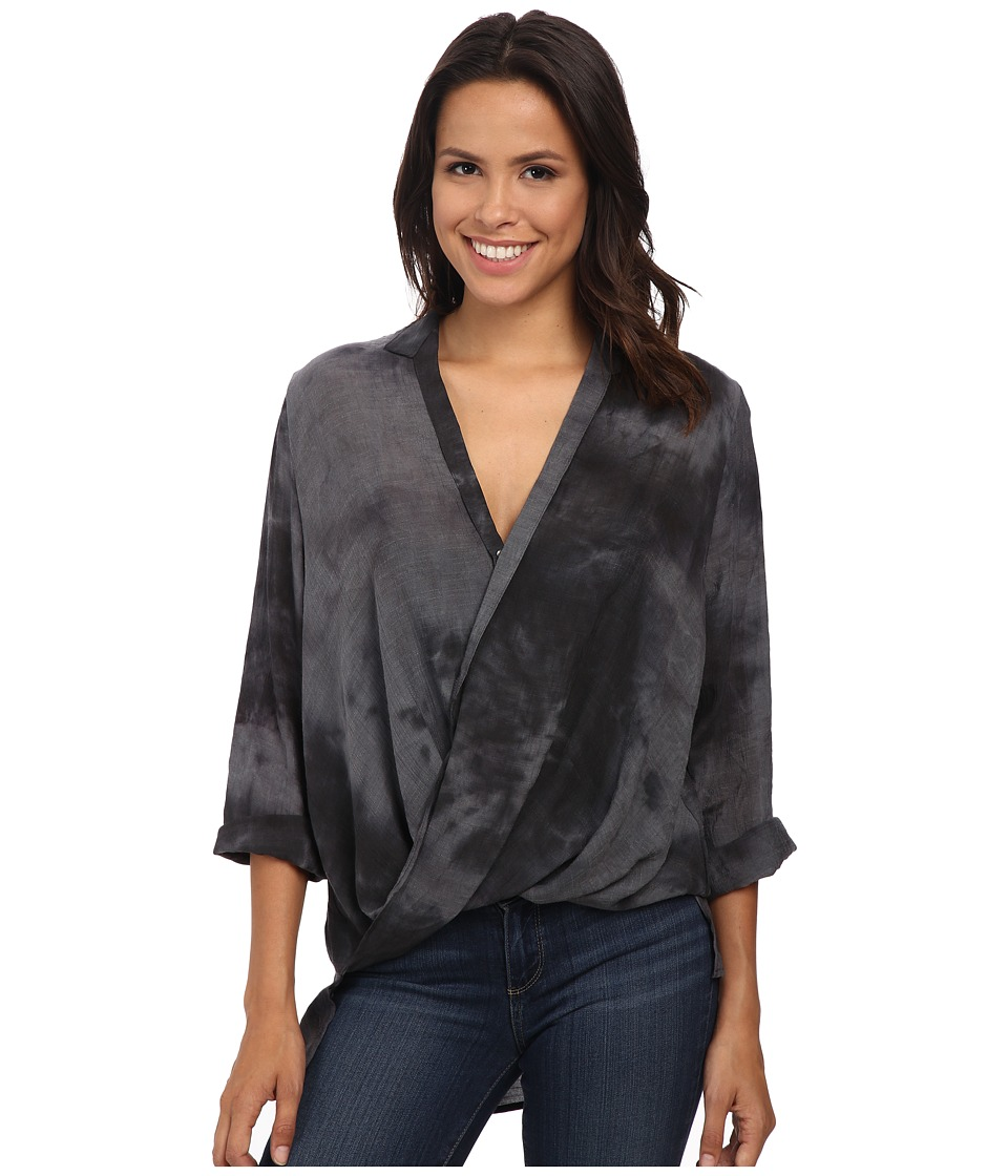 B Collection by Bobeau - Cross Front Tab Sleeve Blouse (Charcoal) Women's Blouse