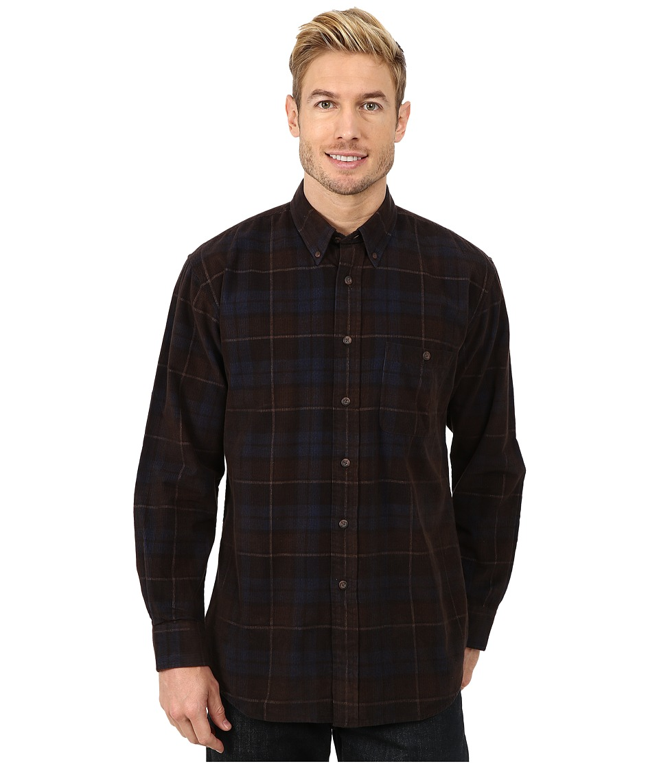 Pendleton - Long Sleeve Wayne Shirt (Olive Windowpane) Men's Clothing