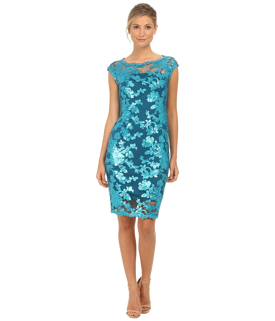 Adrianna Papell - Cap Sleeve Illusion Sequin Lace Cocktail (Turquish Blue) Women's Dress