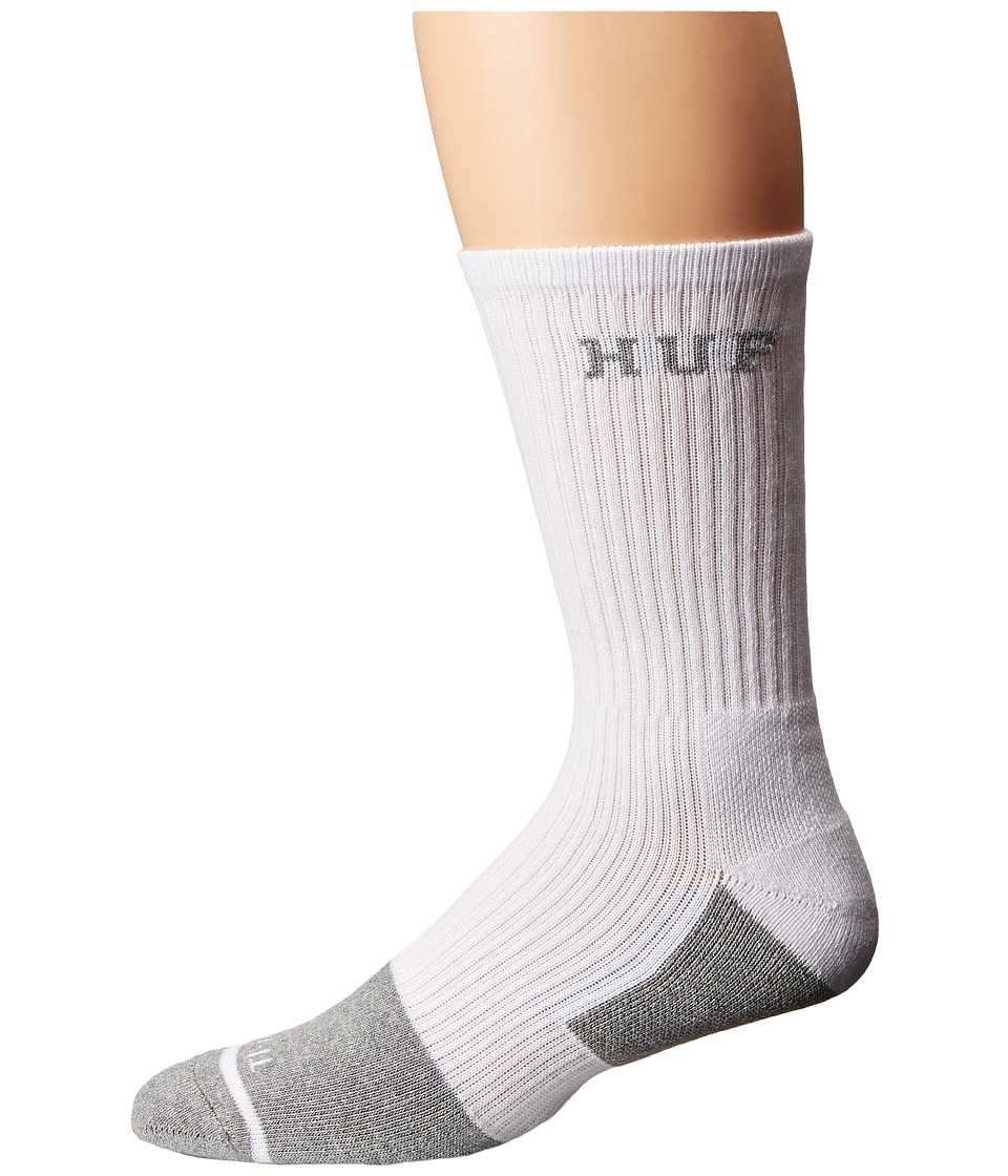 HUF - Apex Crew Sock (White 1) Crew Cut Socks Shoes
