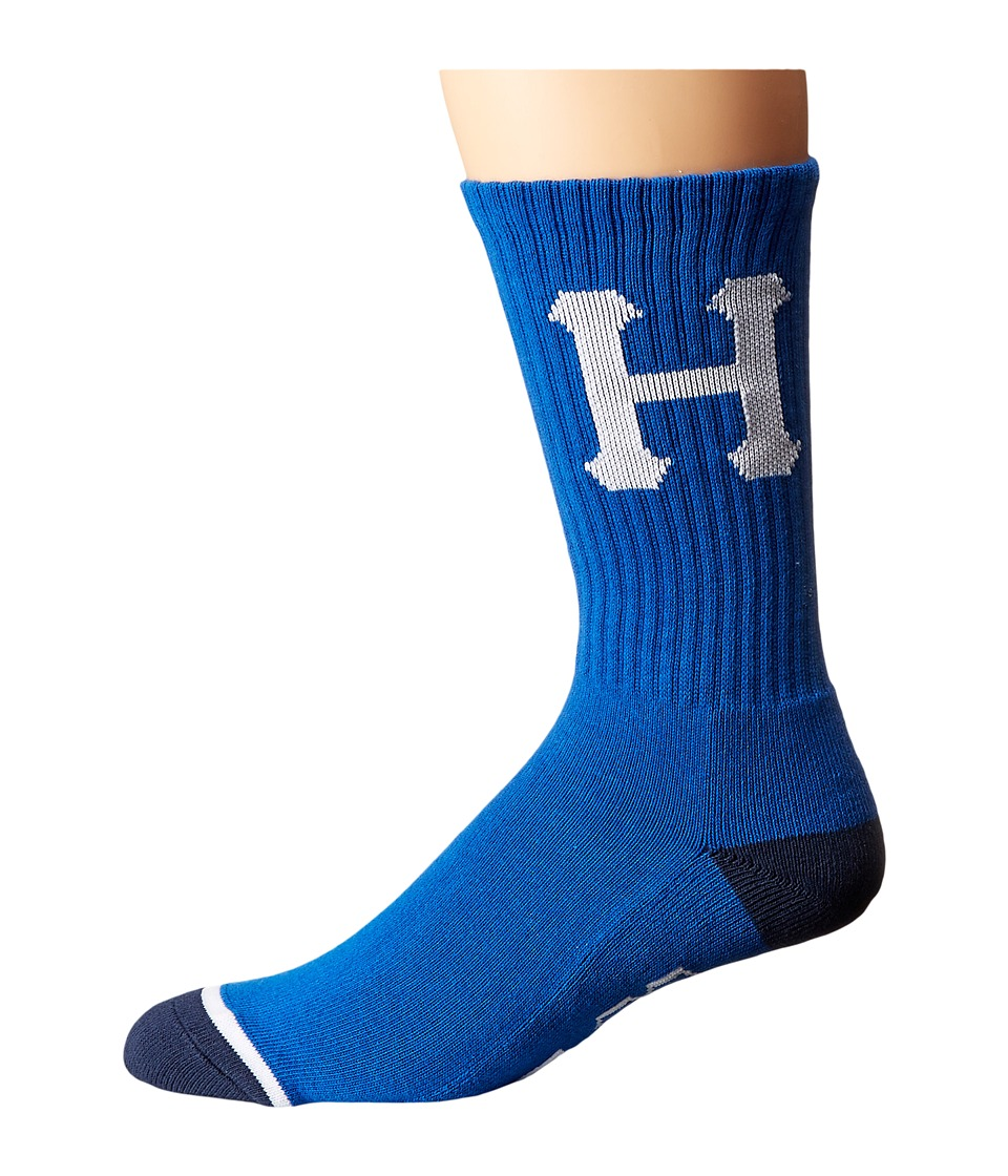 HUF - Classic H Crew Sock (Blue/Navy) Crew Cut Socks Shoes