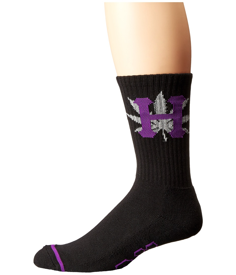 HUF - H-Town Crew Sock (Black 1) Crew Cut Socks Shoes