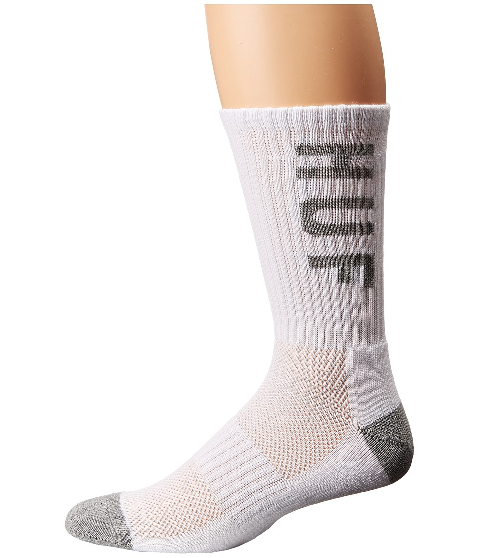 HUF - Performance Crew Sock (White/Grey Heather) Crew Cut Socks Shoes
