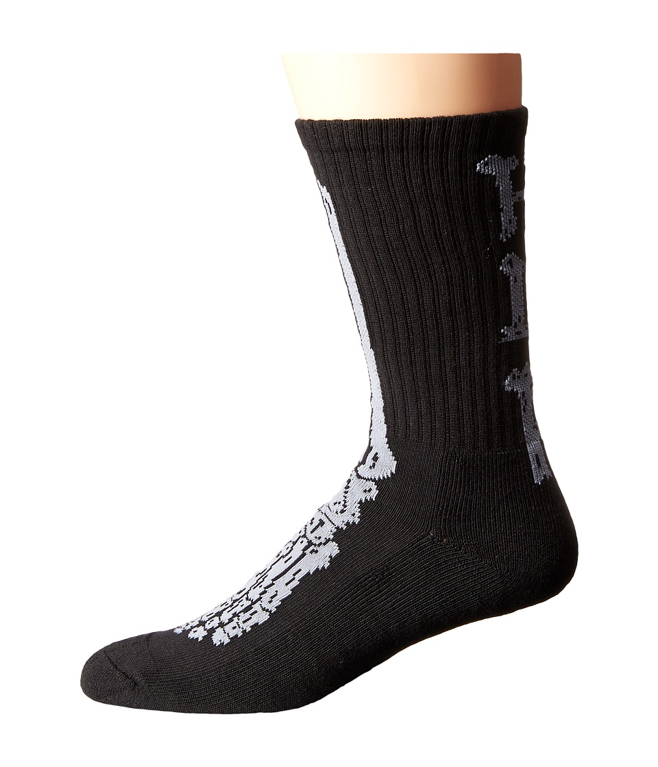 HUF - Bones Sock (Black) Crew Cut Socks Shoes