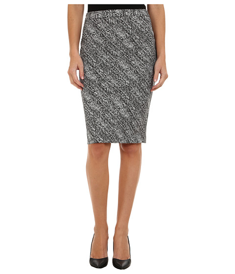 Calvin Klein - Notch Bottom Jacquard Skirt (Black/White) Women