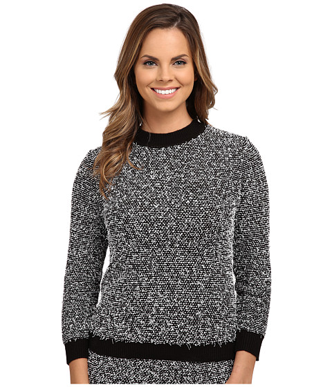 Calvin Klein - Contrast Eyelash Crew Neck (Black/Soft White Multi) Women's Sweater