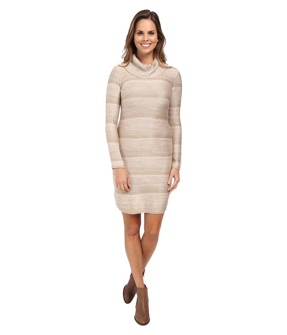 Calvin Klein Space Dyed Mock Neck Sweater Dress (Latte Multi) Women