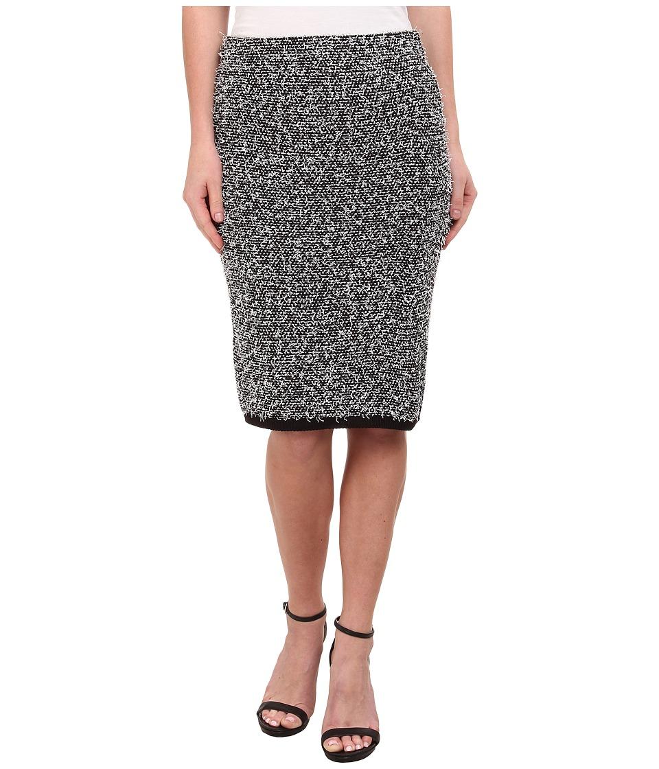 Calvin Klein - Contrast Eyelash Midi Skirt (Black/Soft White Multi) Women's Skirt