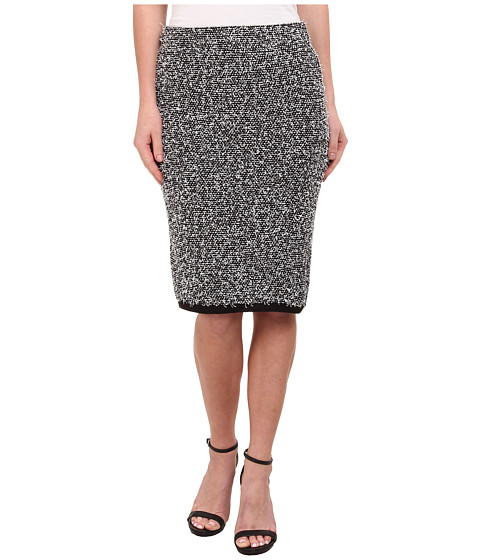 Calvin Klein - Contrast Eyelash Midi Skirt (Black/Soft White Multi) Women