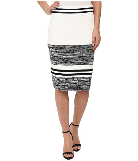 Calvin Klein - Marled Stripe Sweater Skirt (Black/White) Women's Skirt