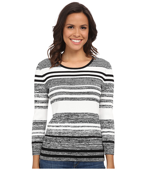 Calvin Klein - Marled Stripe Sweater (Black/White) Women's Sweater
