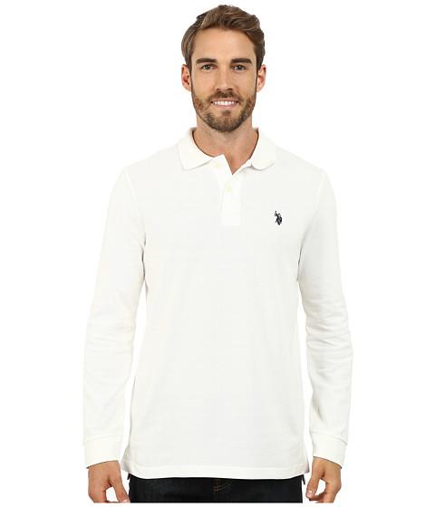 U.S. POLO ASSN. - Long Sleeve Pique Polo with Small Pony Logo (White Winter) Men