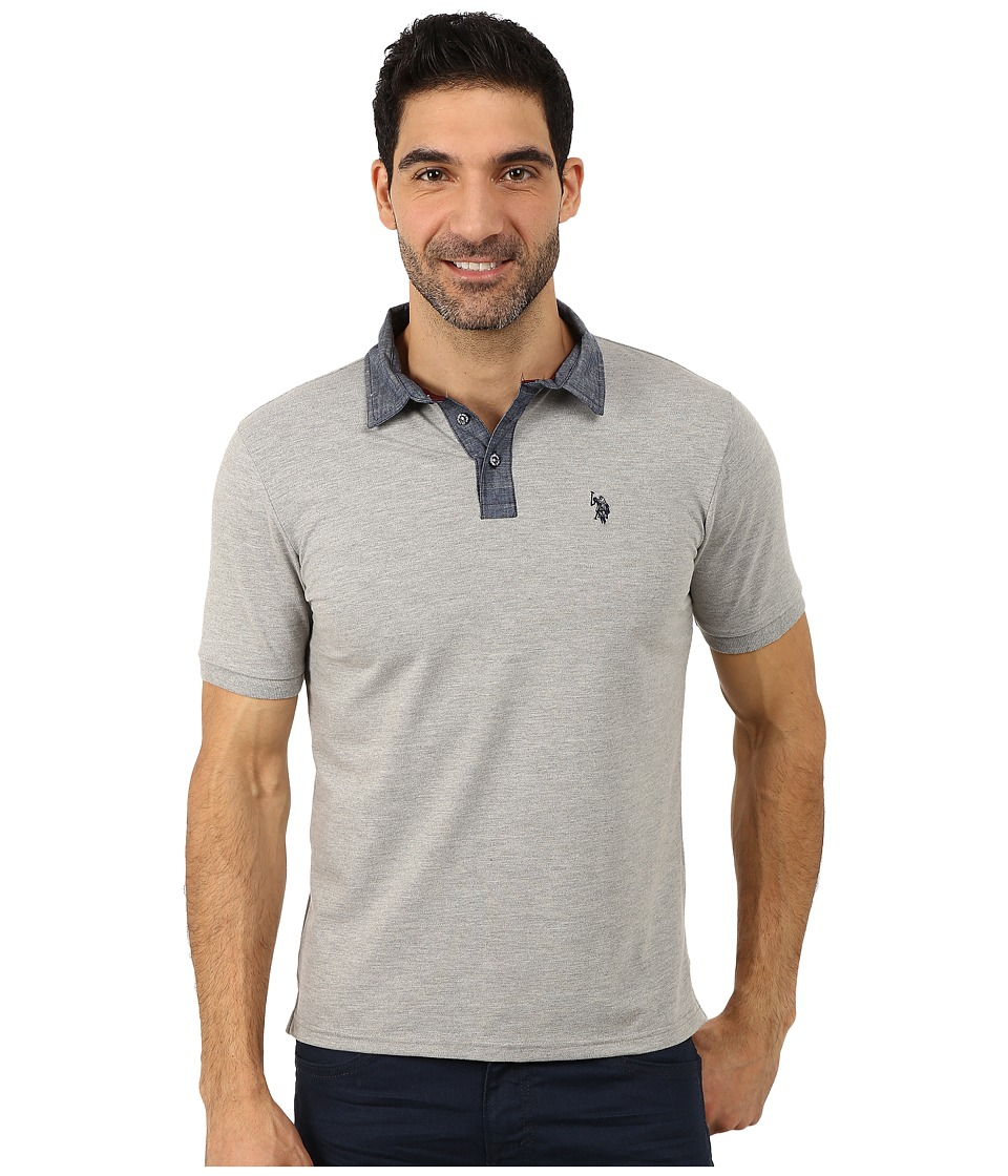 U.S. POLO ASSN. - Solid Slim Fit Stretch Pique Polo (Heather Gray) Men's Short Sleeve Pullover