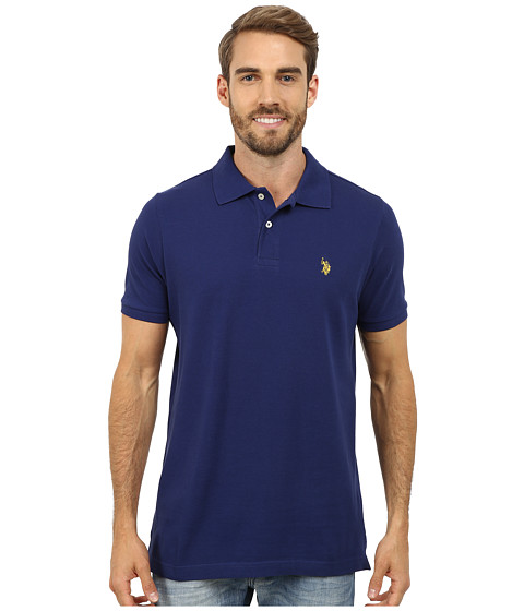 U.S. POLO ASSN. - Solid Cotton Pique Polo (Marina Blue) Men