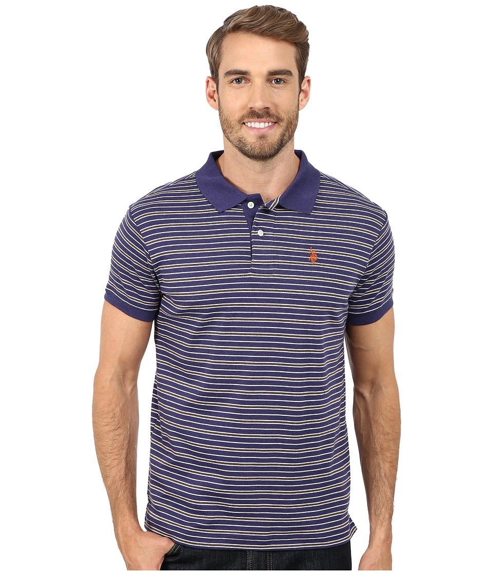 U.S. POLO ASSN. - Feeder Striped Interlock Polo (Dodger Blue) Men's Short Sleeve Pullover