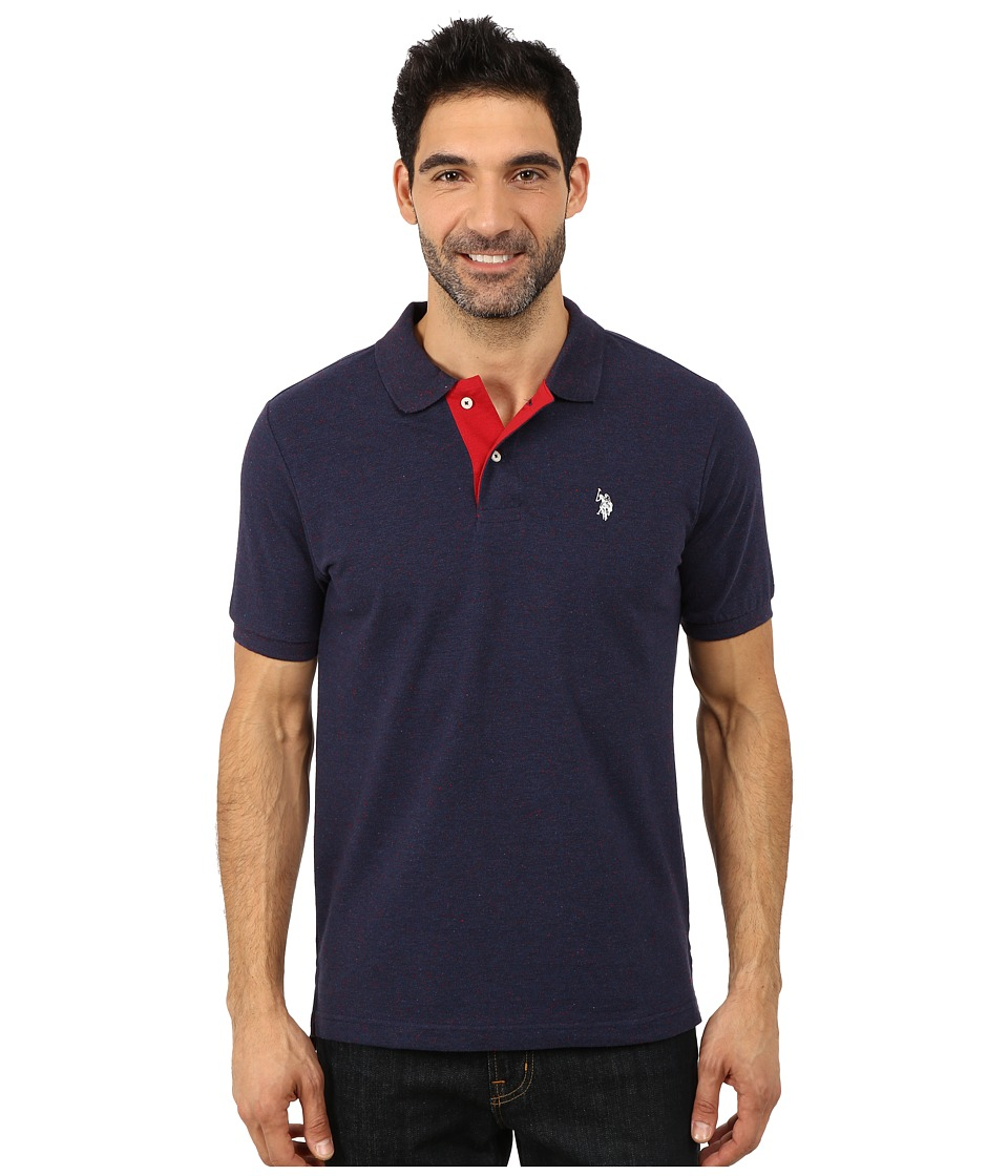 U.S. POLO ASSN. - Fleck Pique Polo (Classic Navy Fleck) Men's Short Sleeve Pullover