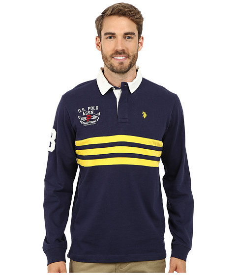 U.S. POLO ASSN. - Long Sleeve Rugby Polo (Classic Navy) Men