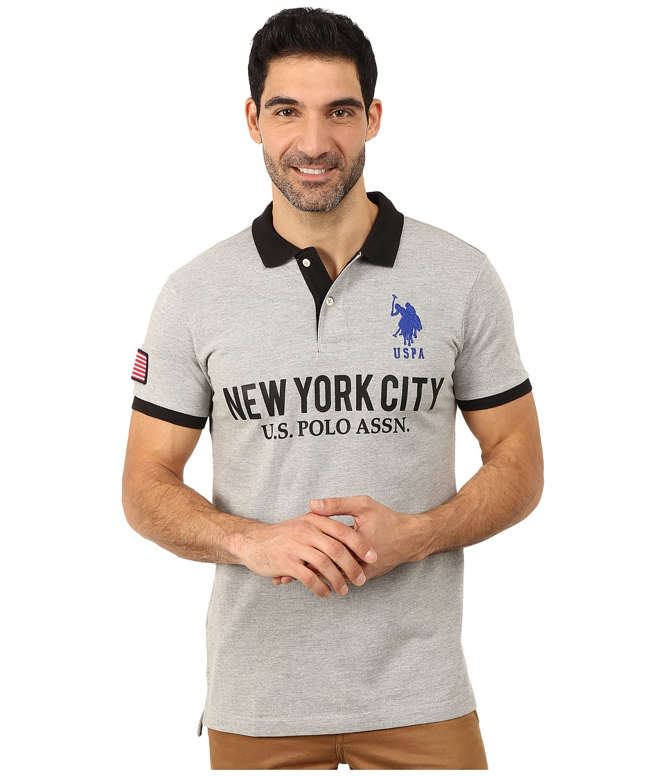 U.S. POLO ASSN. - Slim Fit Solid New York City Polo (Heather Gray) Men's Short Sleeve Pullover