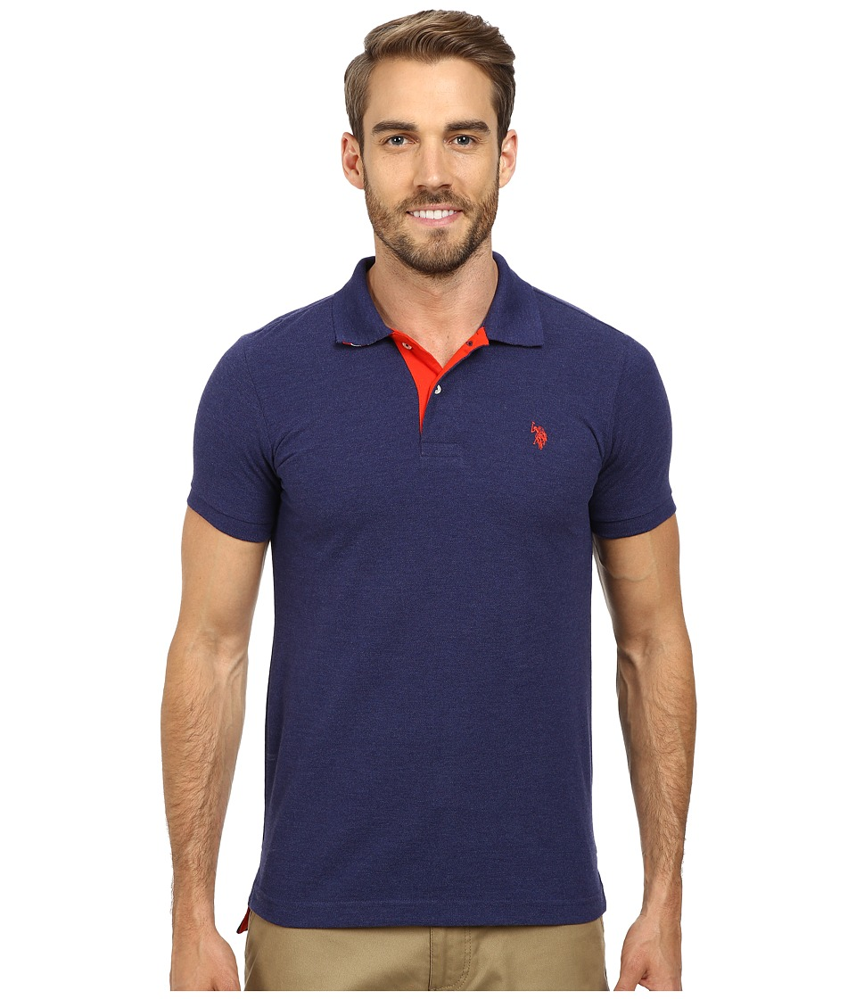 U.S. POLO ASSN. - Slim Fit Solid Pique Polo with Contrast Color Striped Under-Collar (Dodger Blue) Men