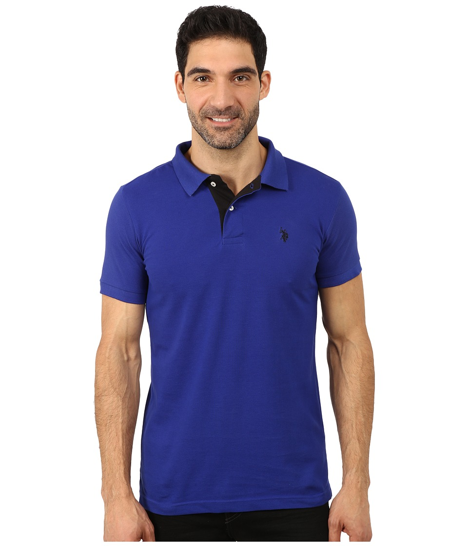U.S. POLO ASSN. - Slim Fit Solid Pique Polo with Contrast Color Striped Under-Collar (International Blue) Men's Short Sleeve Pullover