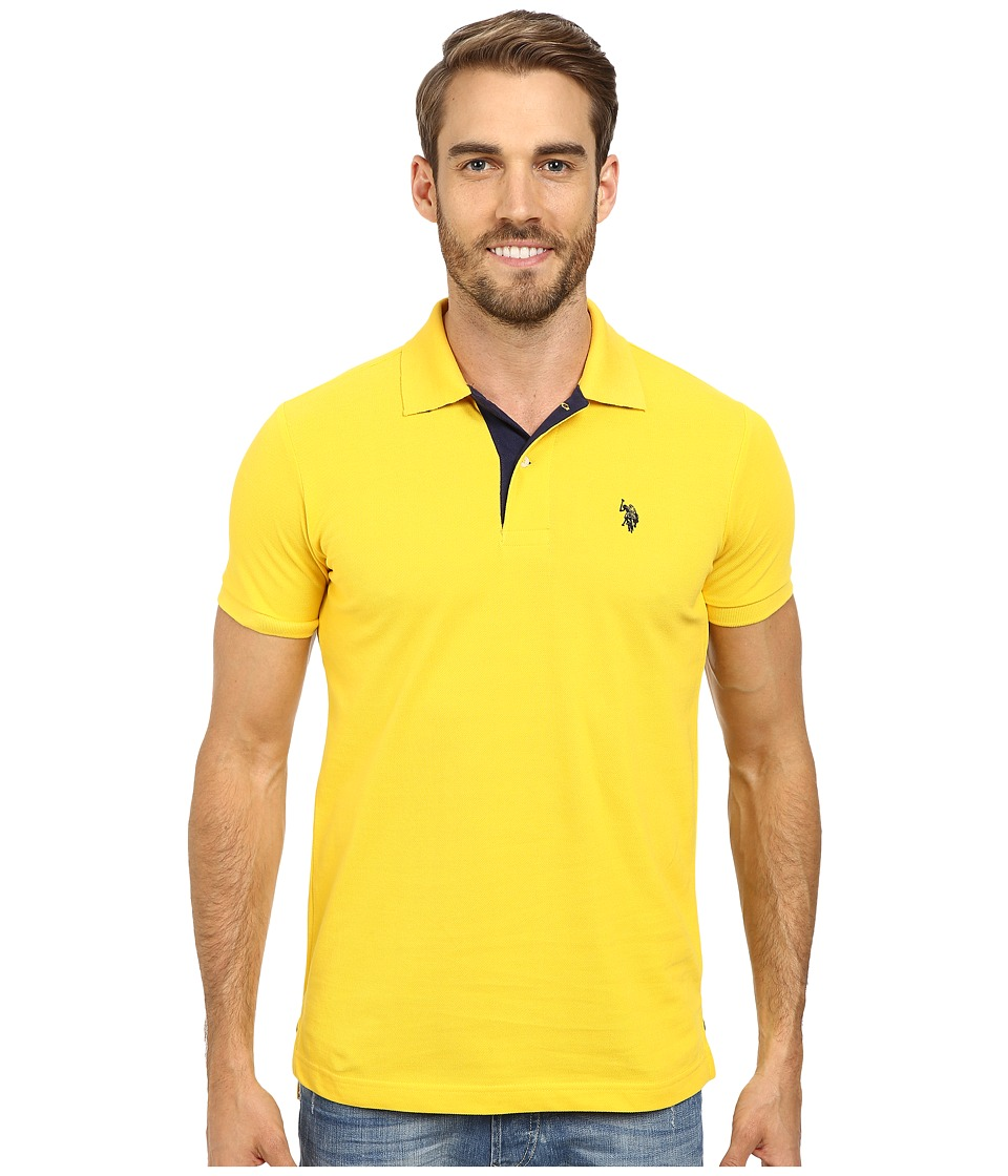 U.S. POLO ASSN. - Slim Fit Solid Pique Polo with Contrast Color Striped Under-Collar (Preppy Yellow) Men's Short Sleeve Pullover
