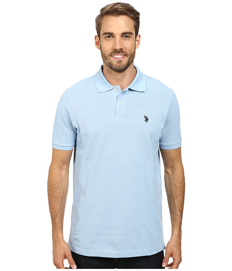 U.S. POLO ASSN. - Solid Cotton Pique Polo (Placid Blue) Men