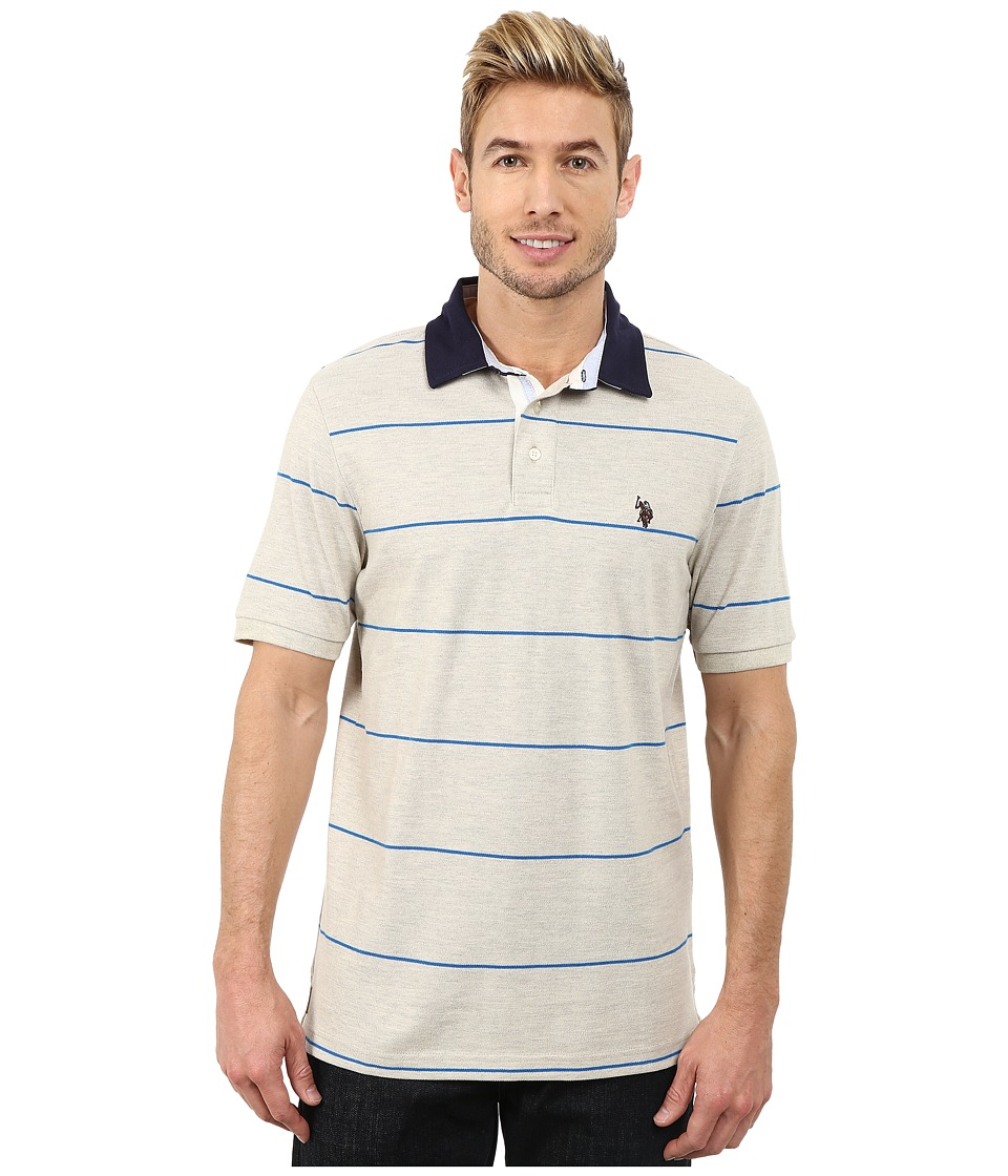 U.S. POLO ASSN. - Striped Polo (Oatmeal Heather) Men's Short Sleeve Knit