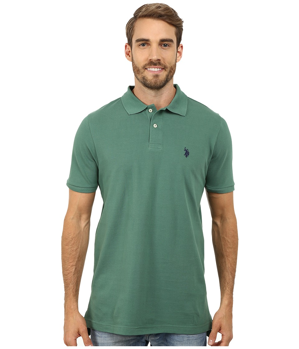 U.S. POLO ASSN. - Solid Cotton Pique Polo with Small Pony (Field Green) Men's Short Sleeve Knit