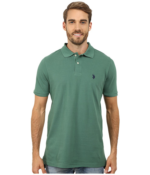 U.S. POLO ASSN. - Solid Cotton Pique Polo (Field Green) Men's Short Sleeve Pullover