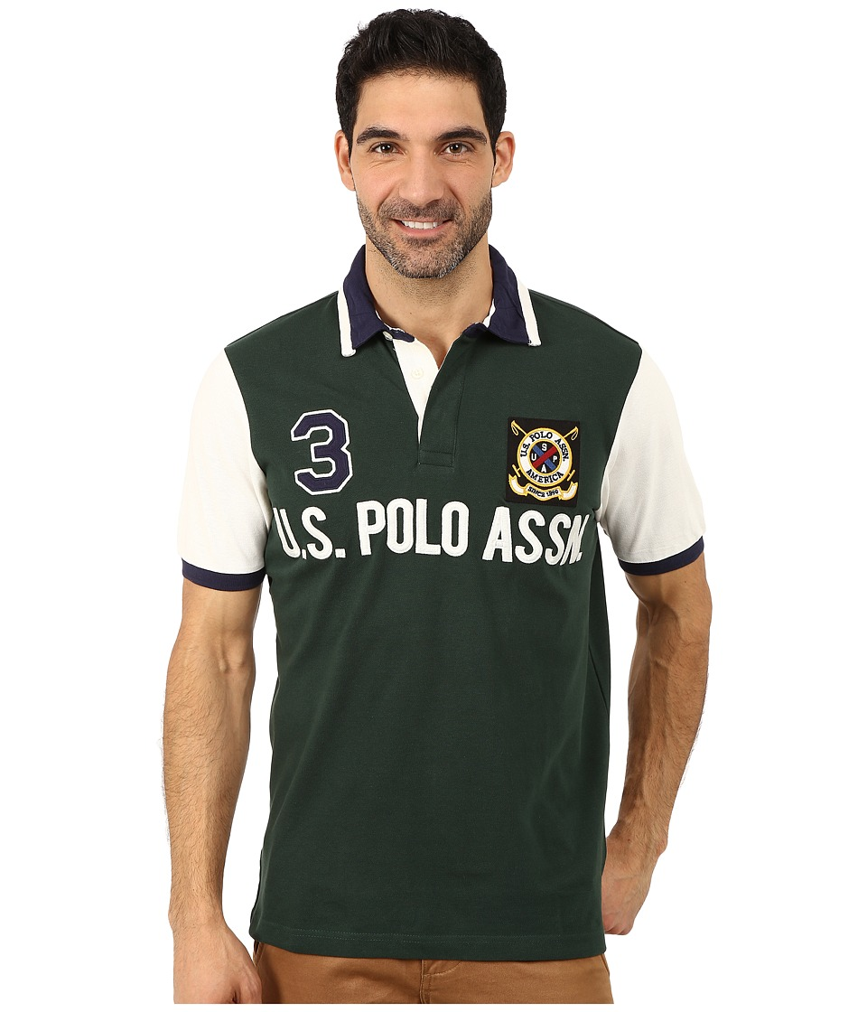 U.S. POLO ASSN. - Color Block U.S. Polo Assn. Polo (Park Green) Men's Short Sleeve Pullover