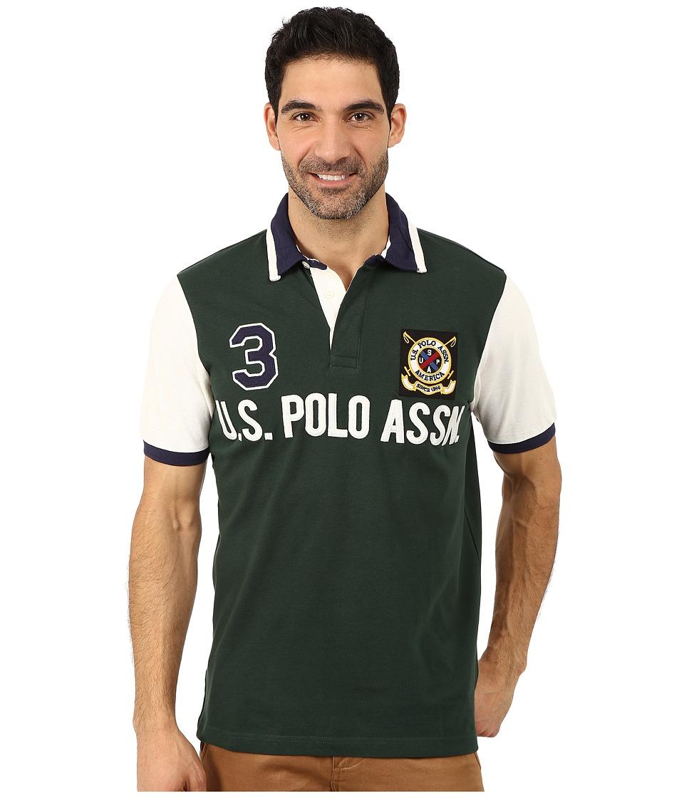 U.S. POLO ASSN. - Color Block U.S. Polo Assn. Polo (Park Green) Men's Short Sleeve Pullover