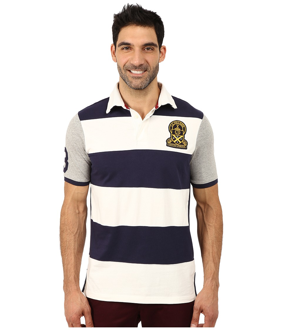 U.S. POLO ASSN. - Rugby Striped polo (Classic Navy) Men's Short Sleeve Pullover