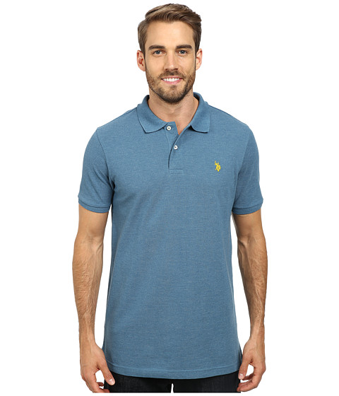 U.S. POLO ASSN. - Solid Cotton Pique Polo (Medium Blue Heather) Men's Short Sleeve Pullover