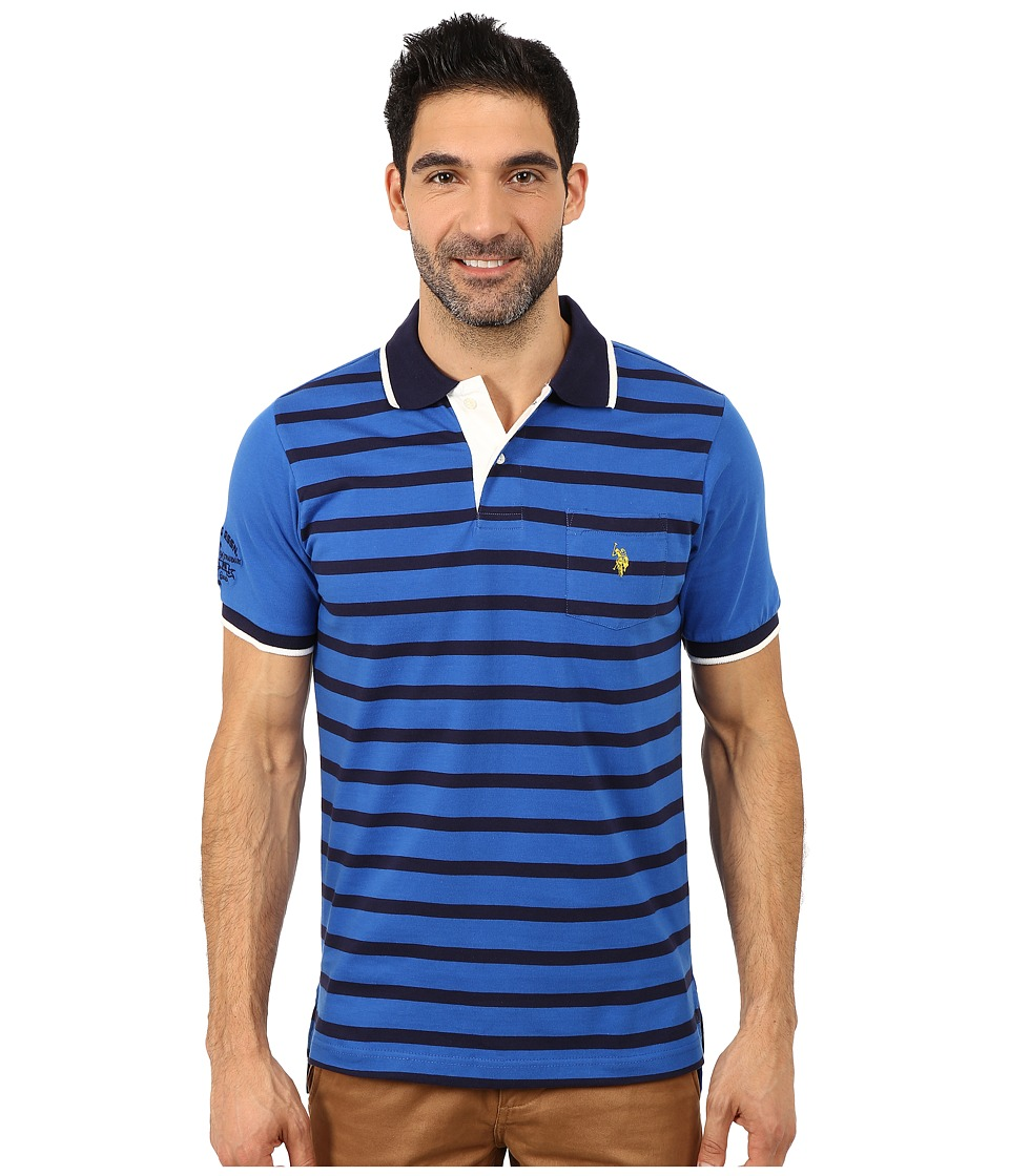U.S. POLO ASSN. - Striped Jersey Polo (China Blue) Men's Short Sleeve Pullover