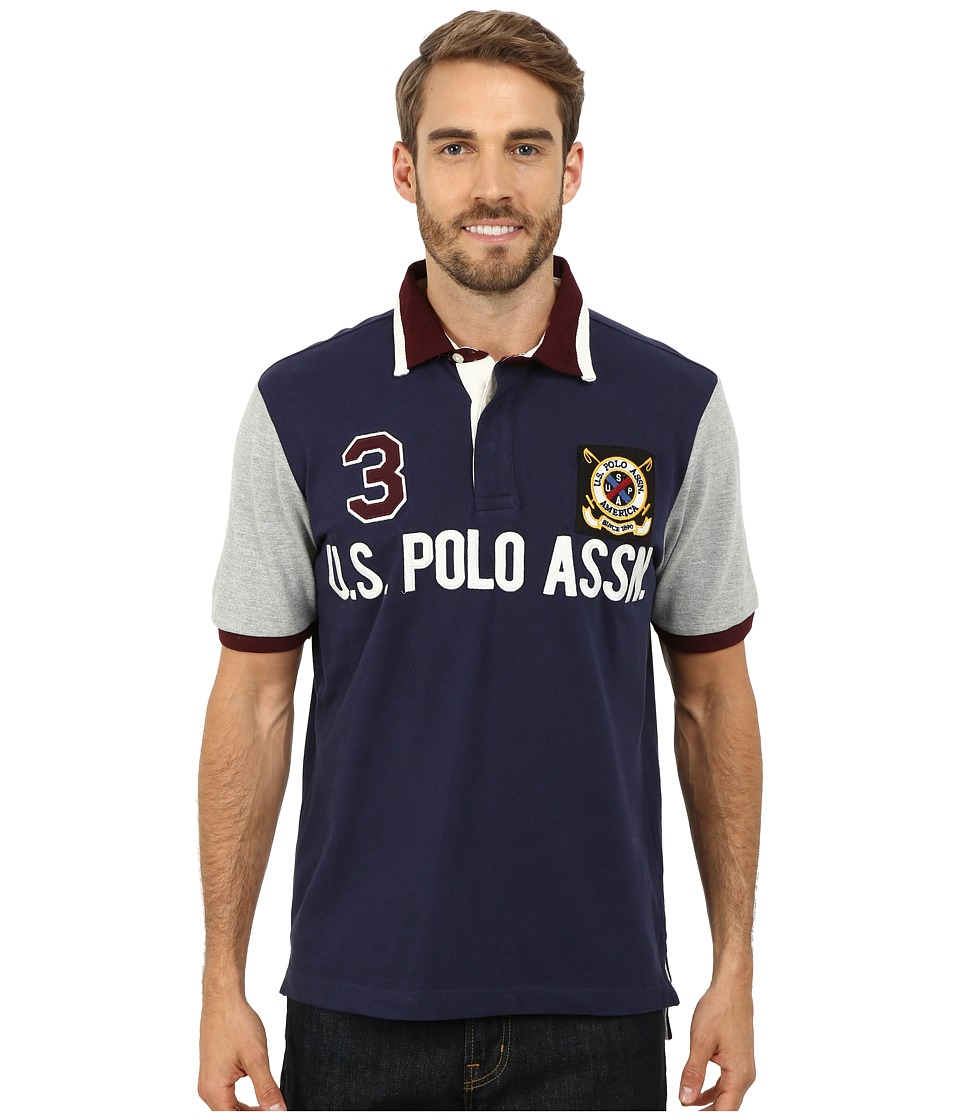 U.S. POLO ASSN. - Color Block U.S. Polo Assn. Polo (Classic Navy) Men's Short Sleeve Pullover