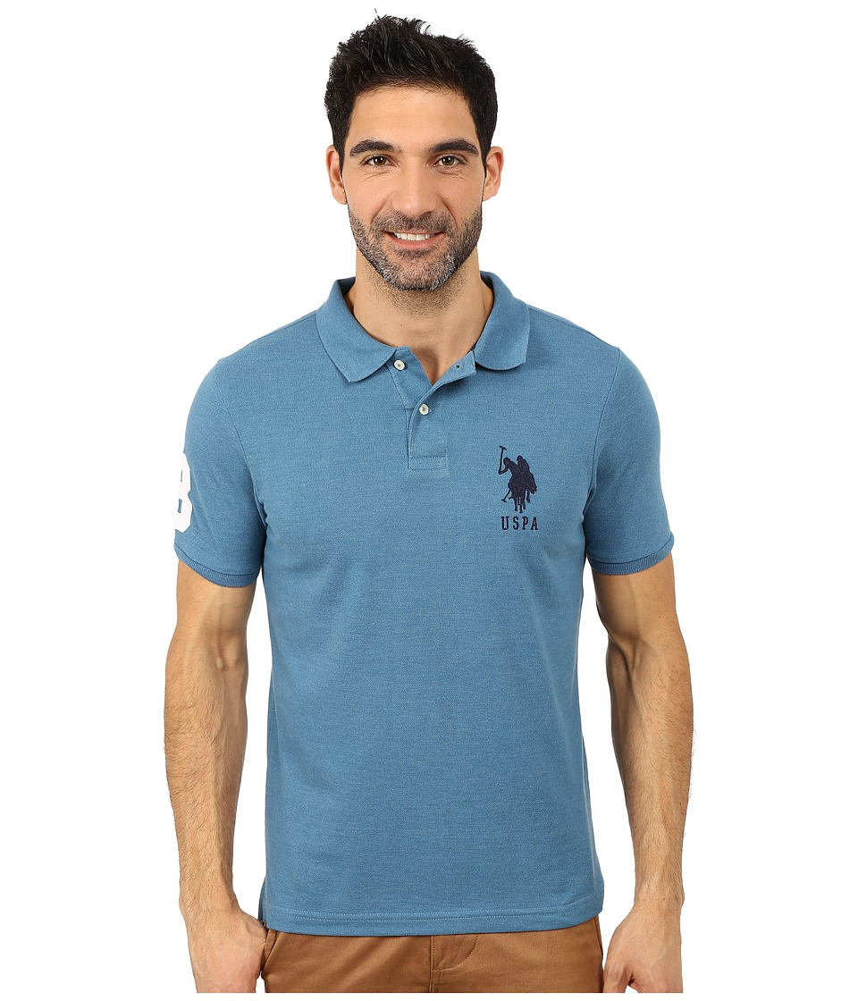 U.S. POLO ASSN. - Solid Pique Polo (Medium Blue Heather) Men's Short Sleeve Pullover