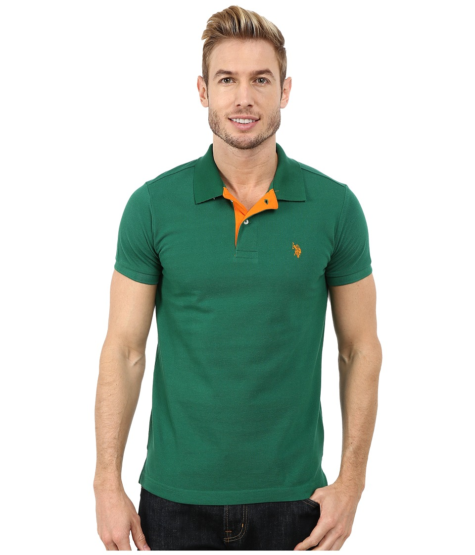 U.S. POLO ASSN. - Slim Fit Solid Pique Polo with Contrast Color Striped Under-Collar (Deep Forest) Men's Short Sleeve Pullover