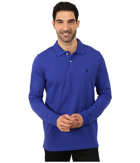 U.S. POLO ASSN. - Long Sleeve Pique Polo with Small Pony Logo (International Blue) Men