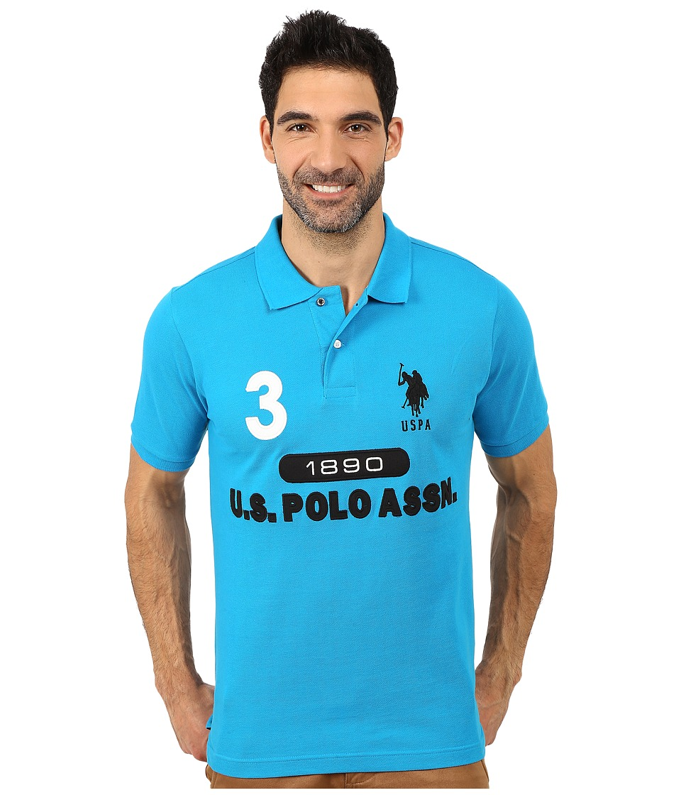U.S. POLO ASSN. - U S Polo Assn Logo Polo (Teal Blue) Men's Short Sleeve Pullover