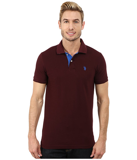 U.S. POLO ASSN. - Slim Fit Solid Pique Polo with Contrast Color Striped Under-Collar (Burgundy) Men's Short Sleeve Pullover