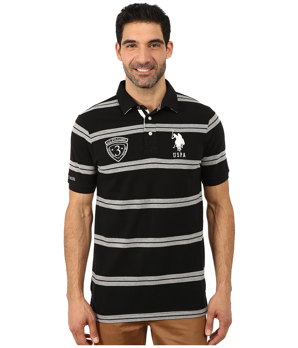 U.S. POLO ASSN. - Black Mallet Striped Pique Polo (Black) Men's Short Sleeve Pullover