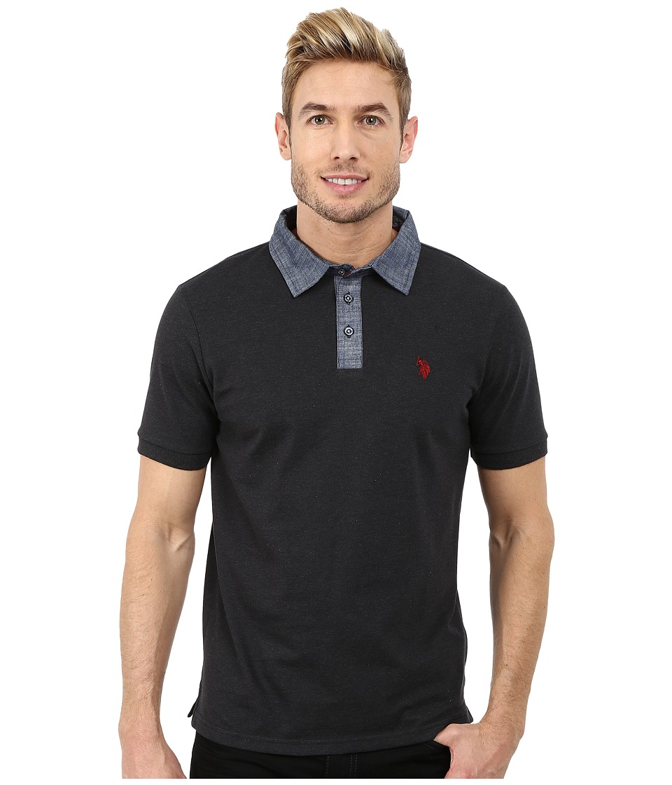 U.S. POLO ASSN. - Solid Slim Fit Stretch Pique Polo (Black Heather) Men's Short Sleeve Pullover