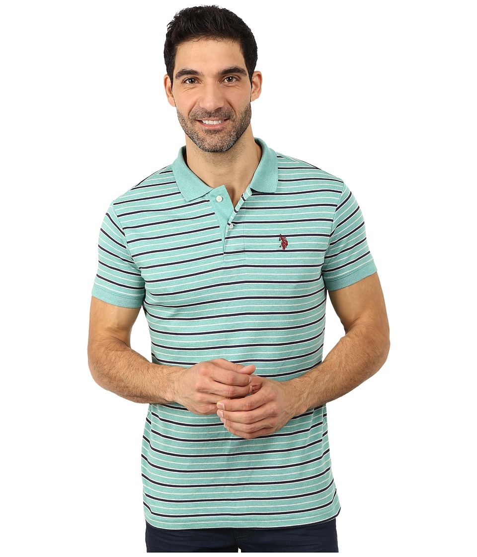 U.S. POLO ASSN. - Feeder Striped Interlock Polo (Block Green Heather) Men